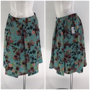 NWT DOWNEAST SKIRT Midi Floral Lined Pleated Small